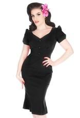 Lady V London Lady Vintage 1940s Fishtail Pencil Dress Black