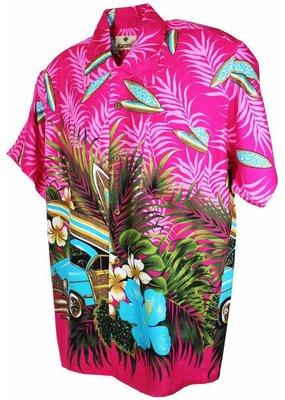 Banned Karmakula 1950s Hawaiian Low Rider Pink Shirt
