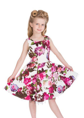 Hearts and Roses Hearts & Roses 50s Audrey Pink Rose Kids Dress