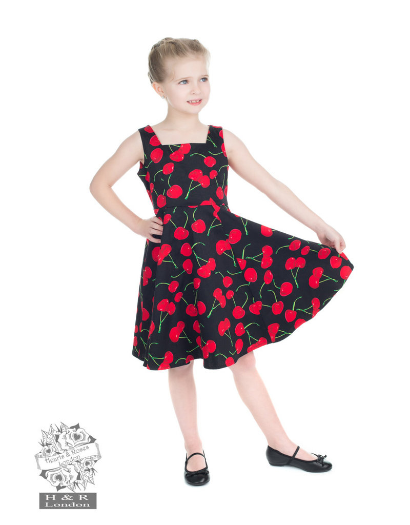 Hearts and Roses Hearts & Roses 50s Black Cherry Swing Kids Dress