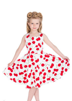 Hearts and Roses Hearts & Roses 50s White Cherry Swing Kids Dress