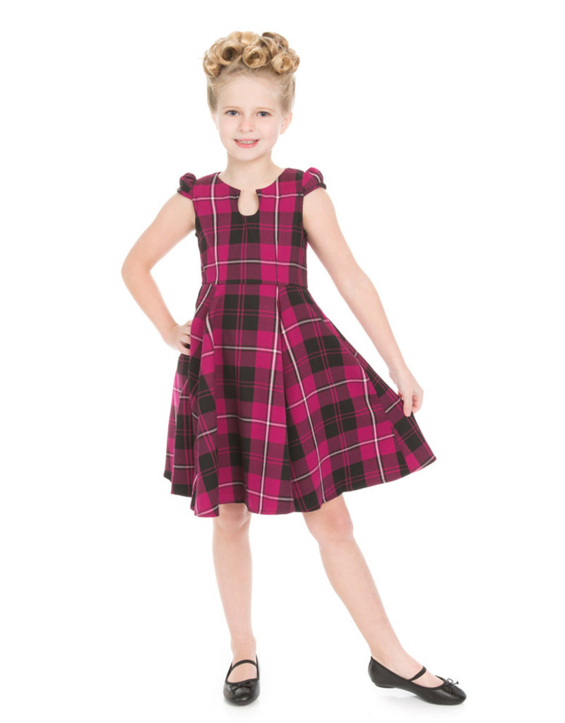 Hearts and Roses Hearts & Roses 1950s Tartan Kids Dress Purple
