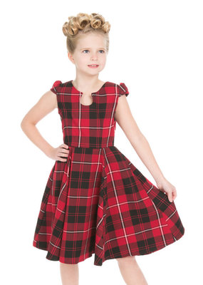 Hearts and Roses Hearts & Roses 1950s Tartan Kids Dress Red