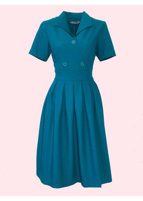 Daisy Dapper Daisy Dapper 1950s Dagny Pleated Dress Teal