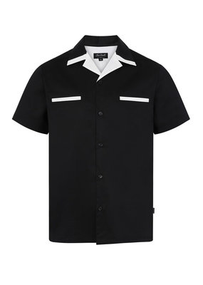 Banned Chet Rock 1950s Donnie Bowling Shirt Black White