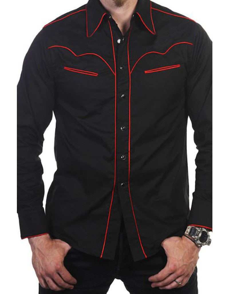 Banned Banned Retro 50s Rockabilly Red Trim Shirt