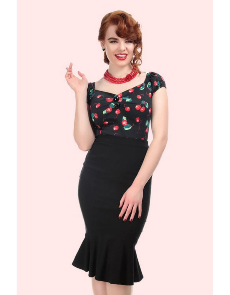 Collectif Collectif 40s/50s Winifred Fishtail Pencil Skirt Black