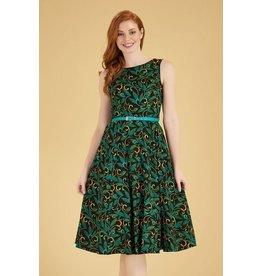 Lady V London Lady Vintage 1950s Hepburn Teal Deco Swing Dress