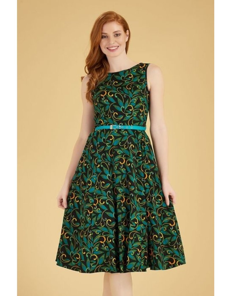 Lady V London Lady Vintage 1950s Hepburn Teal Deco Swing Dress