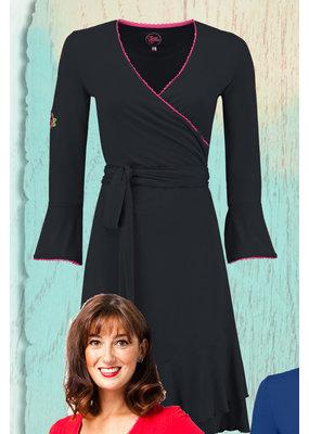 Tante Betsy Tante Betsy 1960s Ruffle Wrap Dress Black