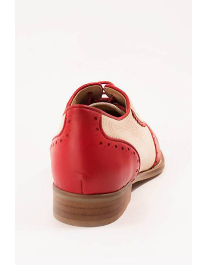 La Veintinueve La Veintinueve 1950s Simone Oxford Shoes Red and Creme