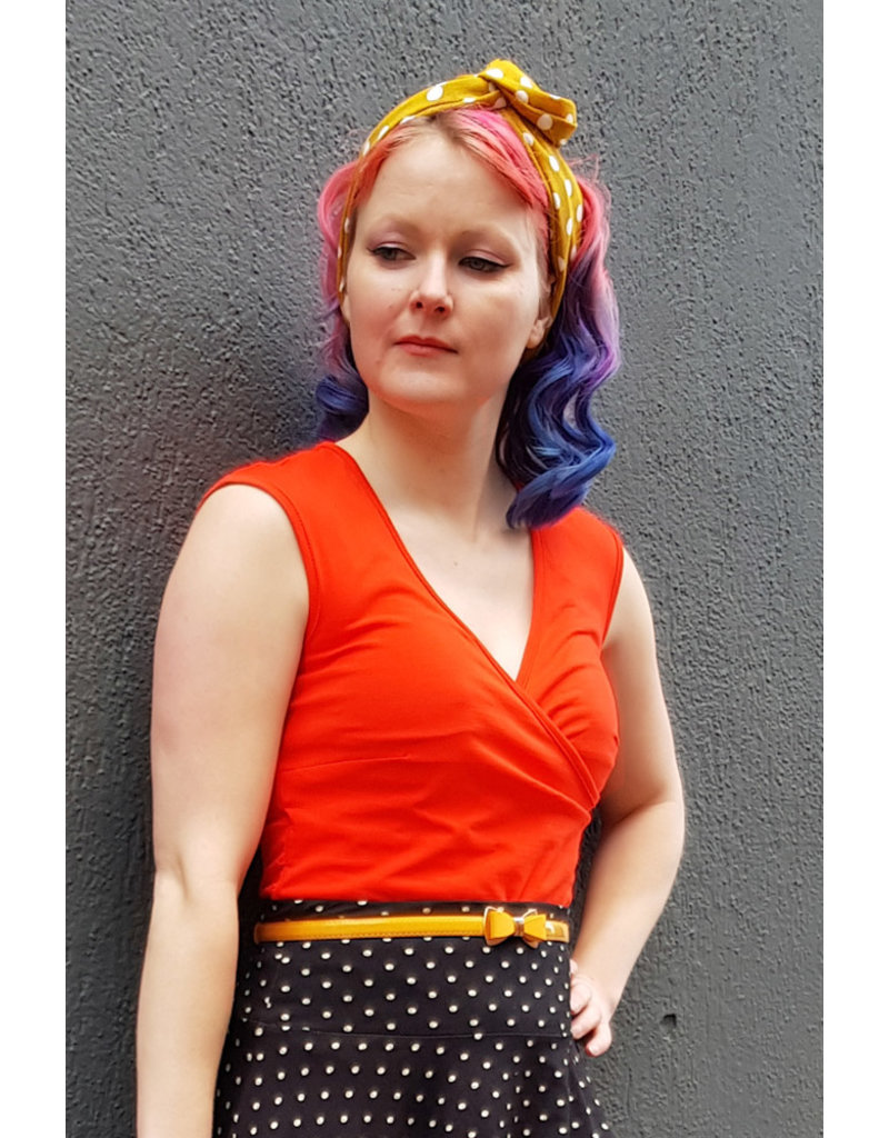 Lien & Giel Lien en Giel 1950s Nantes V-Neck Top Orange Red