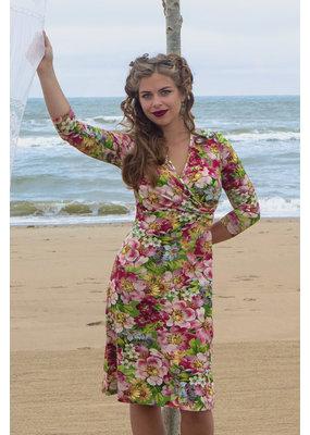 Lalamour Lalamour 1950s Wild Rose V-Neck Dress Pink