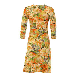 Lalamour Lalamour 1950s Wild Rose V-Neck Dress Orange