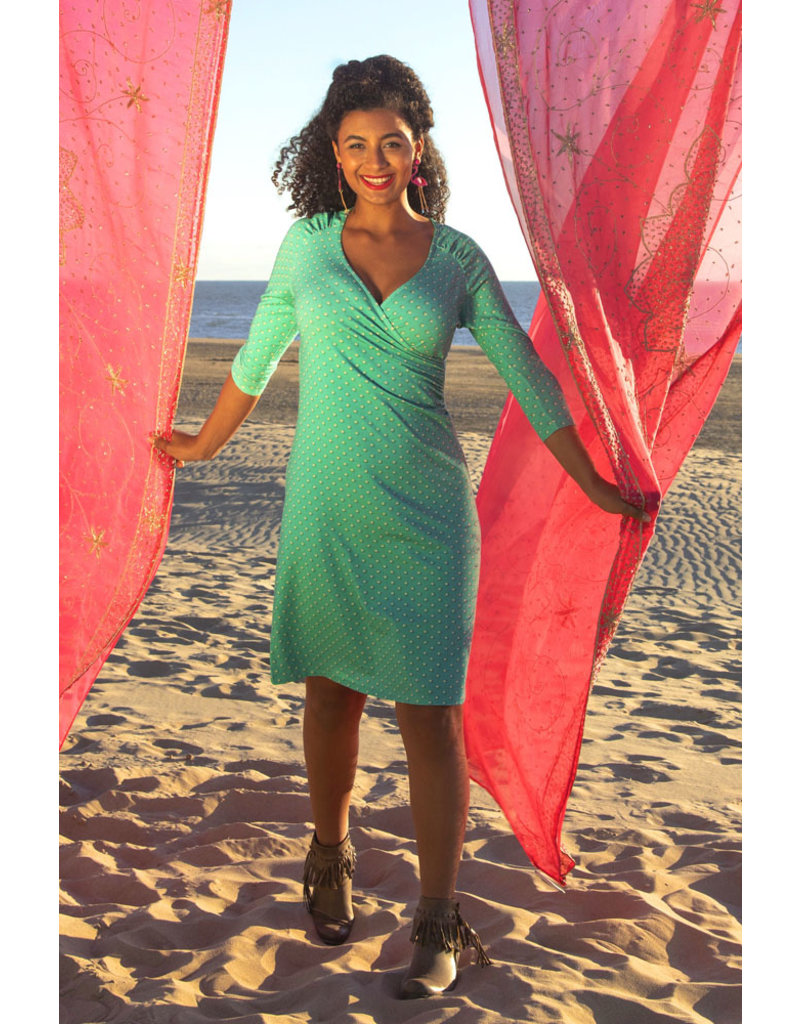 Lalamour Lalamour 1950s Pearly Wrap Dress Turquoise
