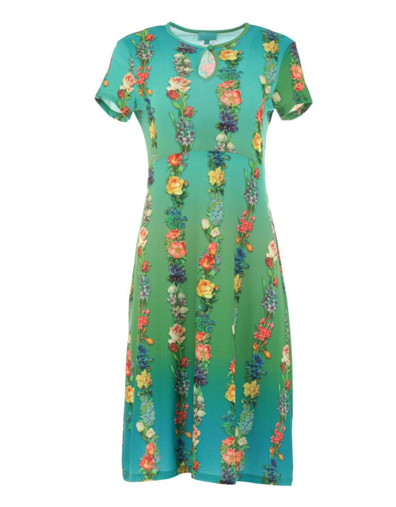 Lalamour Lalamour Garland Keyhole A-Line Dress Blue