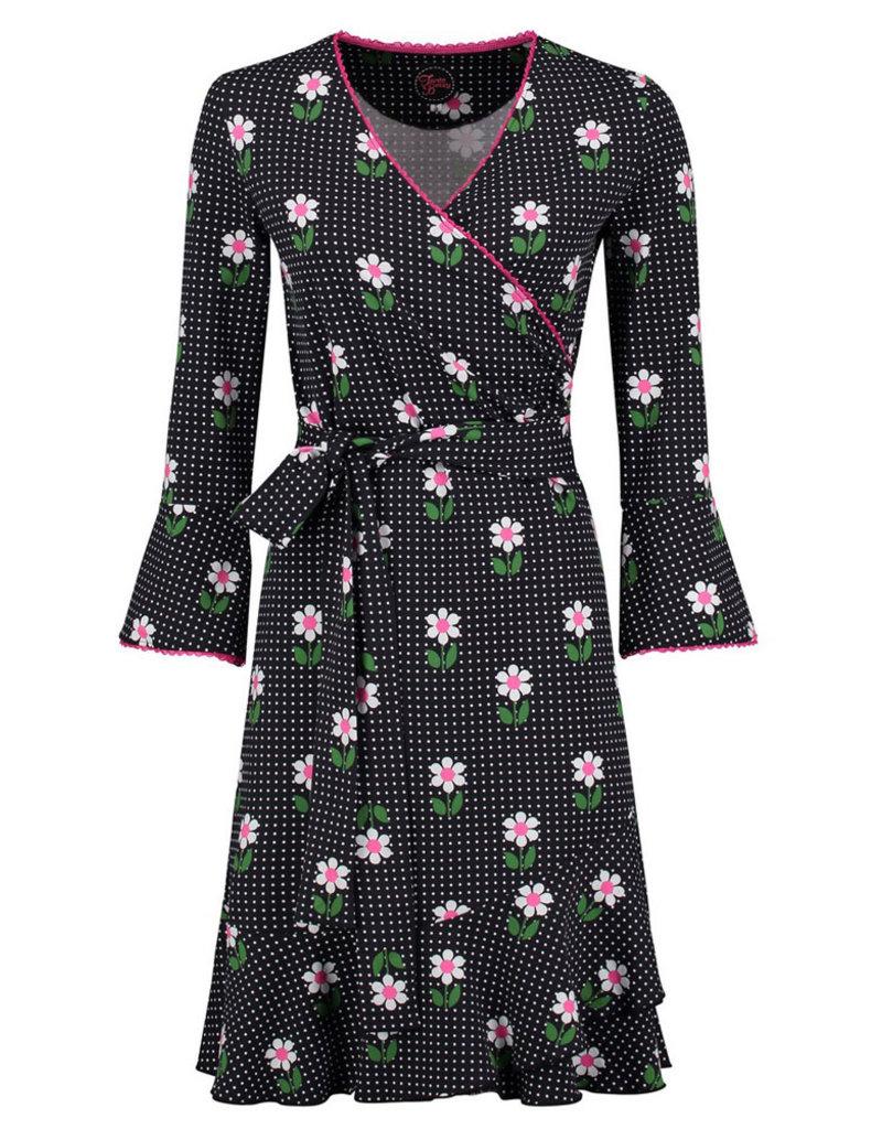Tante Betsy Tante Betsy 1960s Daisy Dot Ruffle Wrap Dress Black