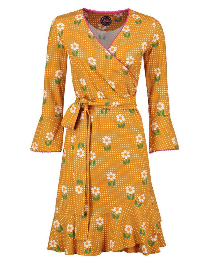 Tante Betsy Tante Betsy 1960s Daisy Dot Ruffle Wrap Dress Yellow