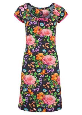 Tante Betsy Tante Betsy 1960s Carmen Butterfly Roses Dress Black