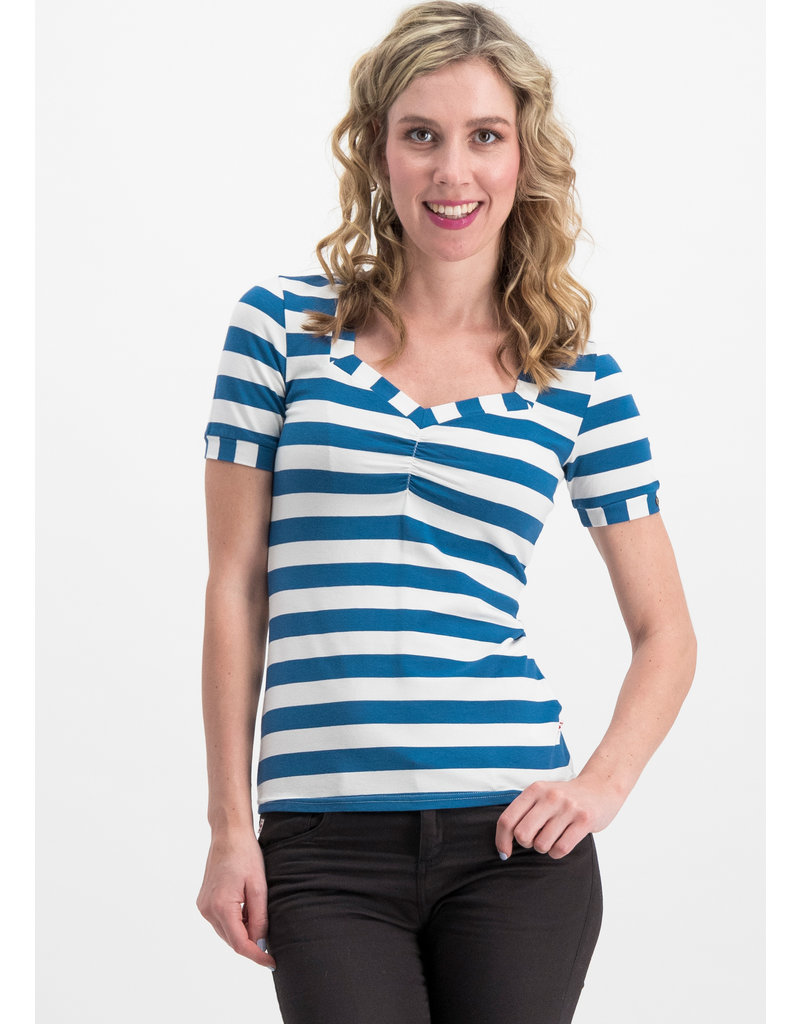Blutsgeschwister Blutsgeschwister 1950s T-Shirt Wander Stripe Blue