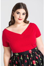 Hell Bunny Hell Bunny 1950s Alex V-Neck Top Red