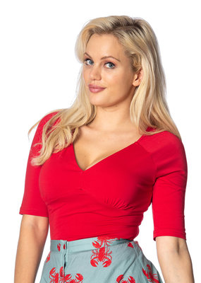 Banned Dancing Days 1950s Betty V-Neck Top Red