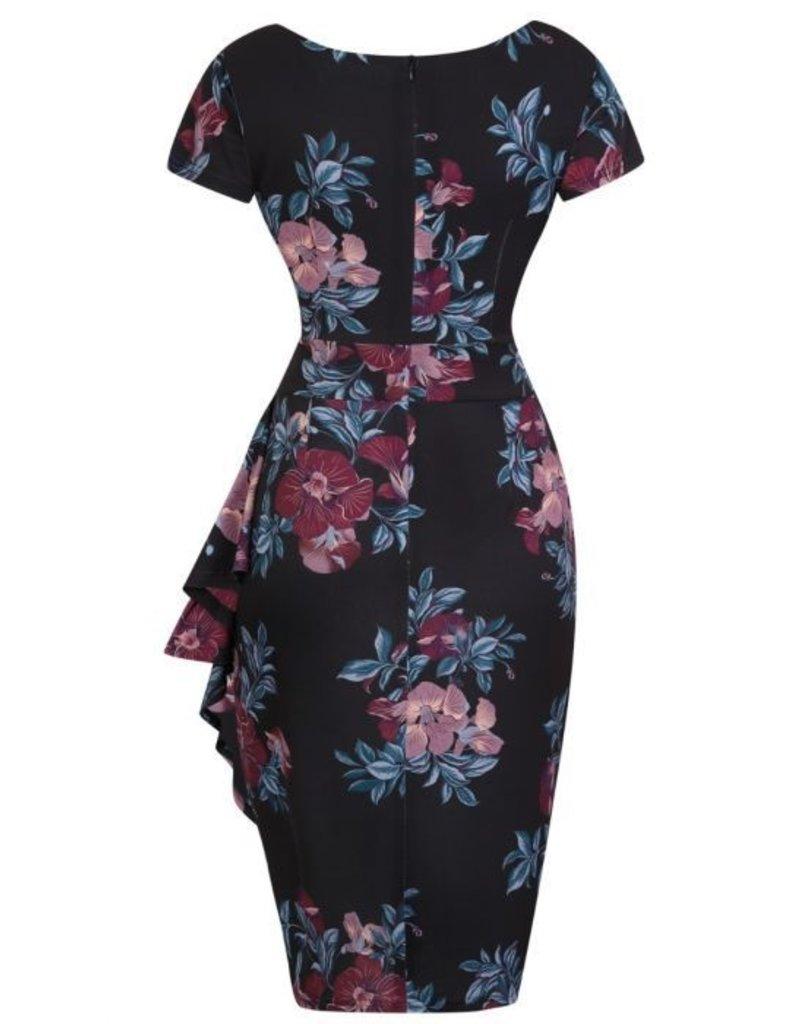 Lady V London Lady Vintage 1950s Elsie Merlot Blossom Dress