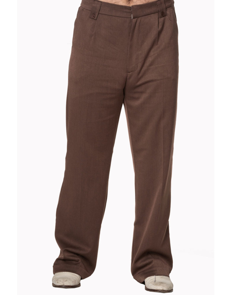 Banned Dancing Days 1940s Mens Swing Trousers Brown