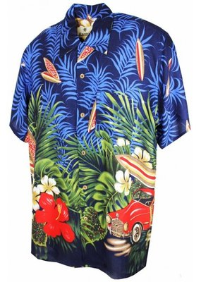 Banned Karmakula 1950s Hawaiian Low Rider Blue Shirt