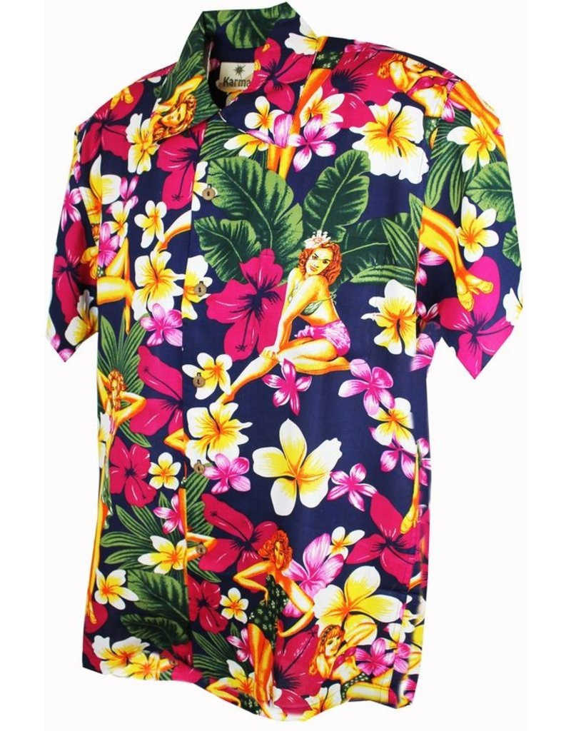 Banned Karmakula 1950s Hawaiian Pin Up Blue Shirt