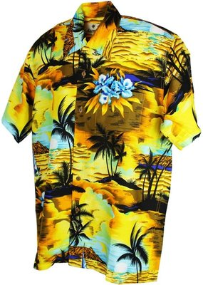 Karmakula Karmakula 1950s Tropical Sunset Yellow Shirt