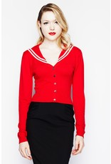 Hell Bunny Hell Bunny 1950s Landlubber Sailor Cardigan Red