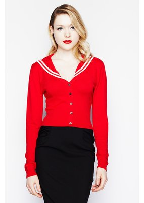 Hell Bunny Hell Bunny 1950s Landlubber Sailor Cardigan Red