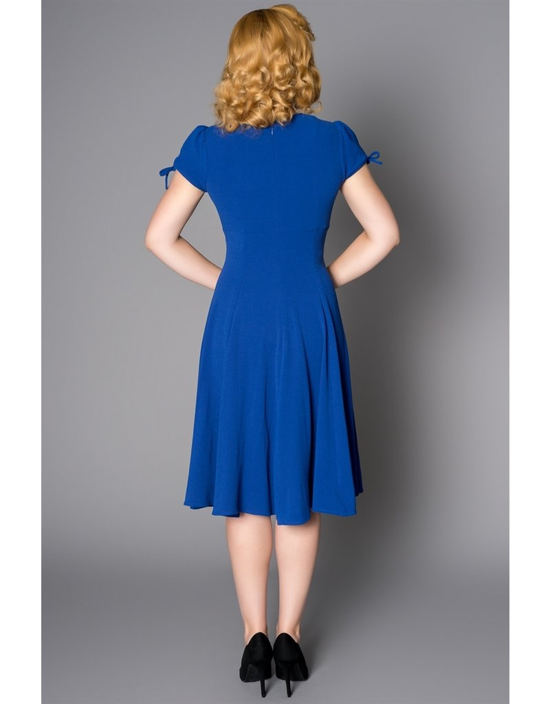 Sheen Sheen 1940s Ava Royal Blue Embroided Floral Dress