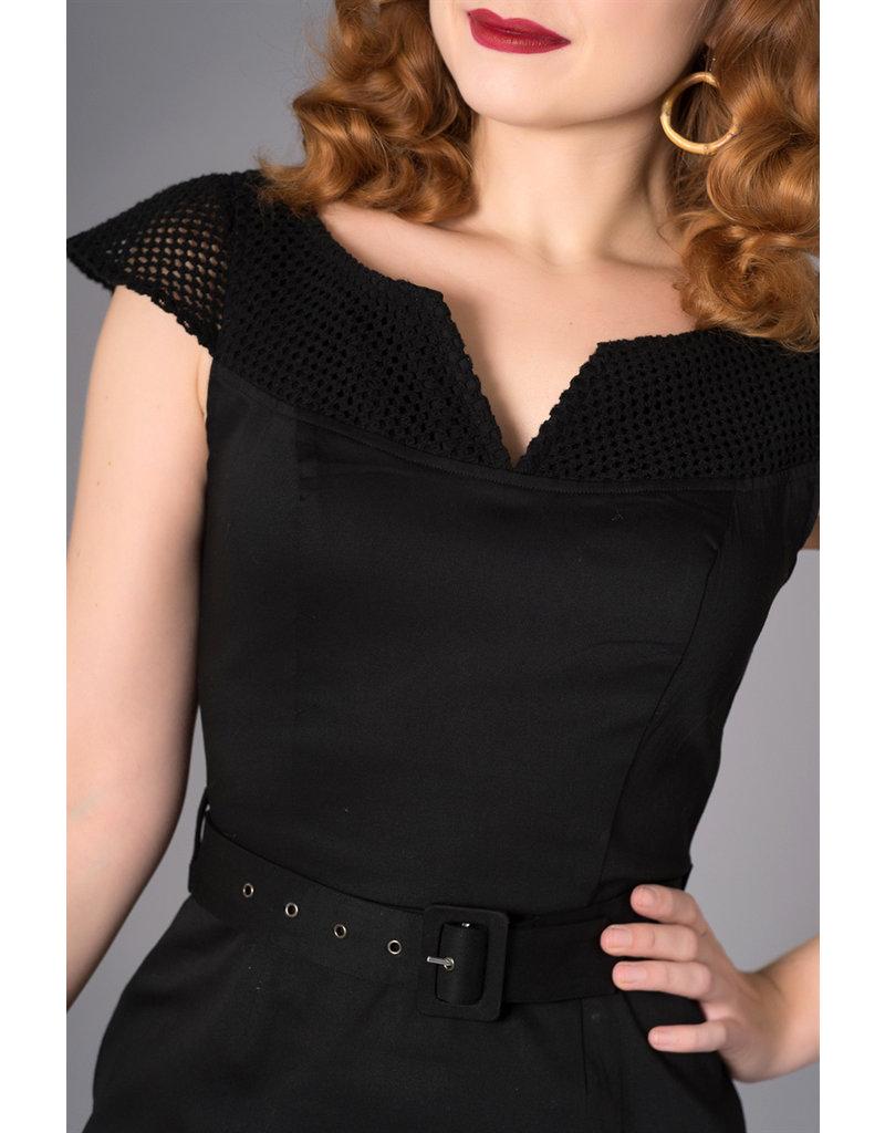 Sheen Sheen 1950s Yetta Pencil Dress Black