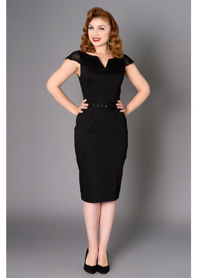 Sheen Sheen 1950s Yetta Pencil Dress Black