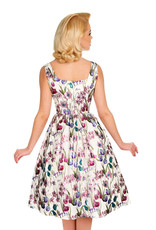 Hearts and Roses Hearts and Roses 1950s Antheia Metallic Floral Swing Dress