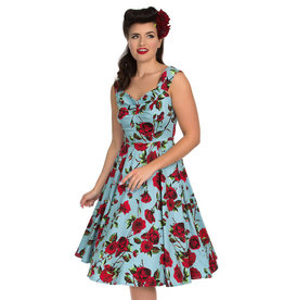 Hearts and Roses Hearts and Roses 1950s Ditsy Rose Dress Blue