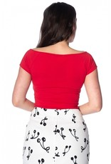 Banned Dancing Days 50s Vintage Bow Wow Top Red