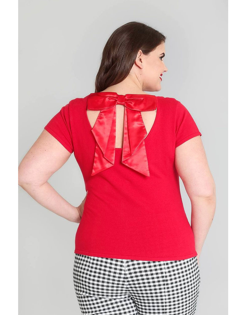 Hell Bunny Hell Bunny 1950s Celine Bow Top Red