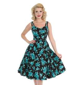 Hearts and Roses Hearts and Roses 1950s Turquoise Rosaceae Dress Black