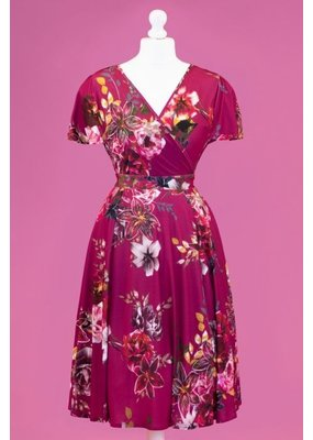 Lady V London Lady Voluptuous 1950s Lyra Fuchsia Skies Dress