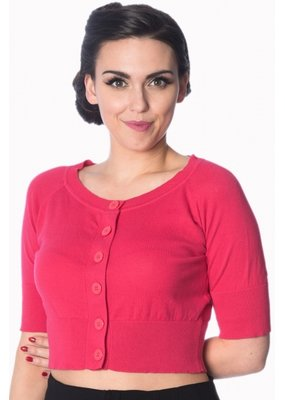 Banned Banned 1950s Raven Short Sleeve Cardigan Hibiscus Pink