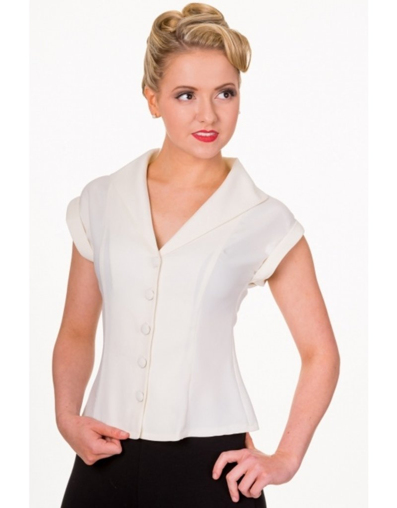 Banned Dancing Days 1950s Dream Button Blouse Creme