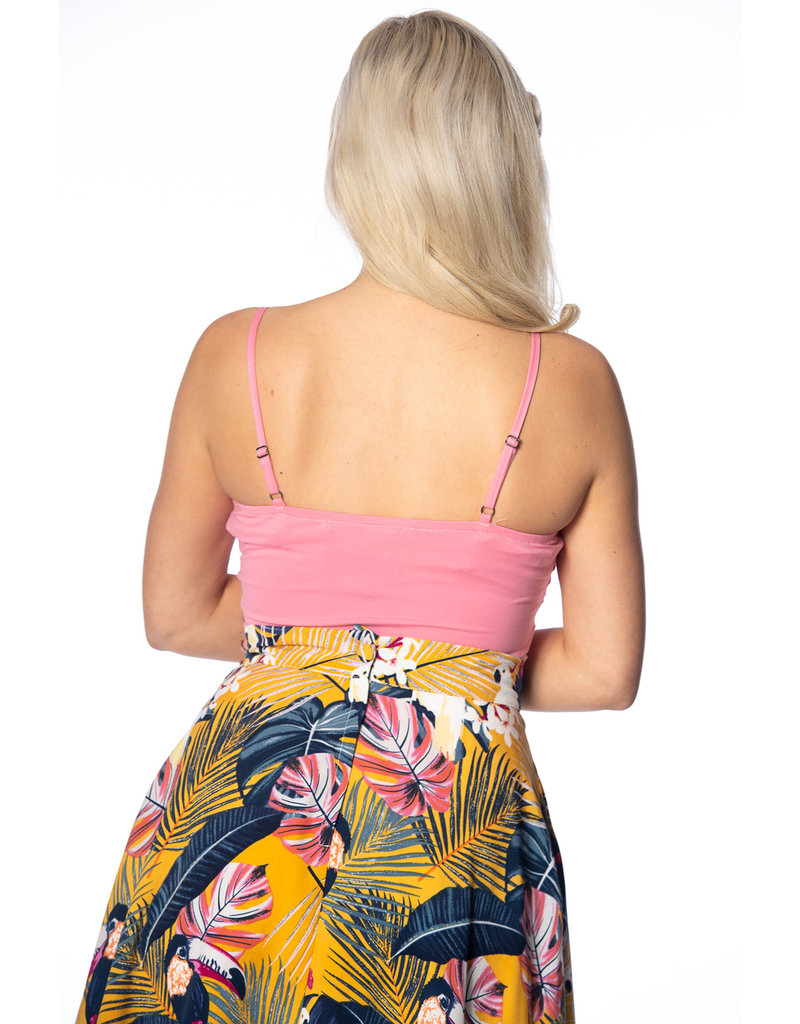Banned Dancing Days 1950s Wrap Front Top Pink
