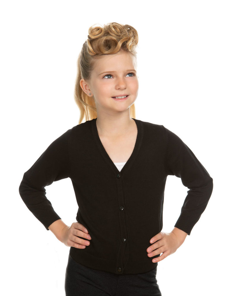 Hearts and Roses Hearts & Roses 50s V-Neck Kids Cardigan Black