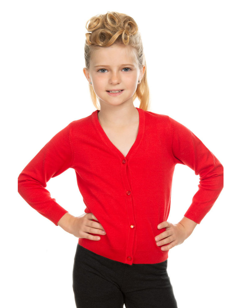 Hearts and Roses Hearts & Roses 50s V-Neck Kids Cardigan Red