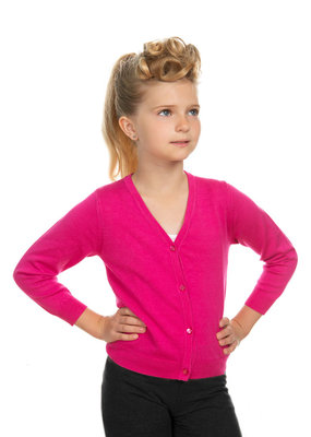 Hearts and Roses Hearts & Roses 50s V-Neck Kids Cardigan Hot Pink