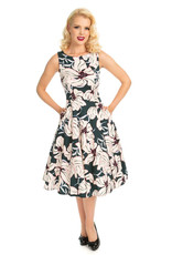 Hearts and Roses Hearts and Roses 1950s Emerald Floral Swing Dress