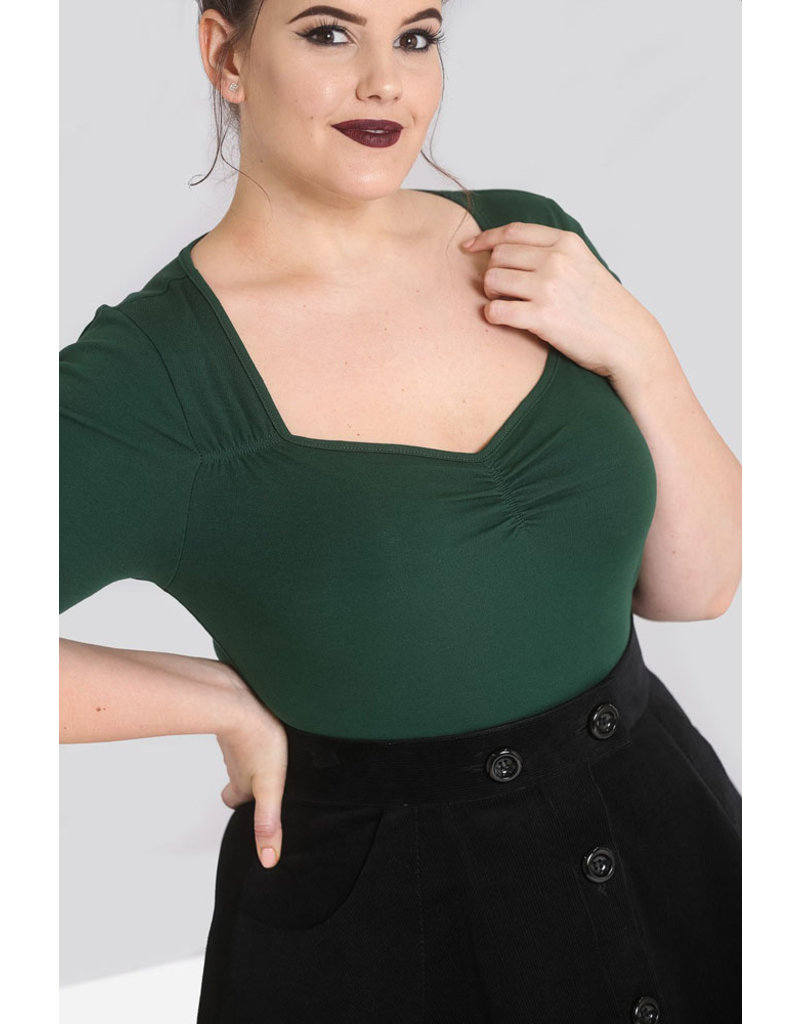 Hell Bunny SPECIAL Order Hell Bunny Philippa Top Green